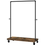 Rustic Industrial Laundry Pipe Garment Rack Lockable Wheels