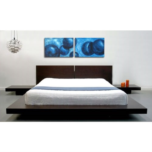 King Modern Japanese Style Platform Bed With Headboard And 2 Nightstands In  Espresso