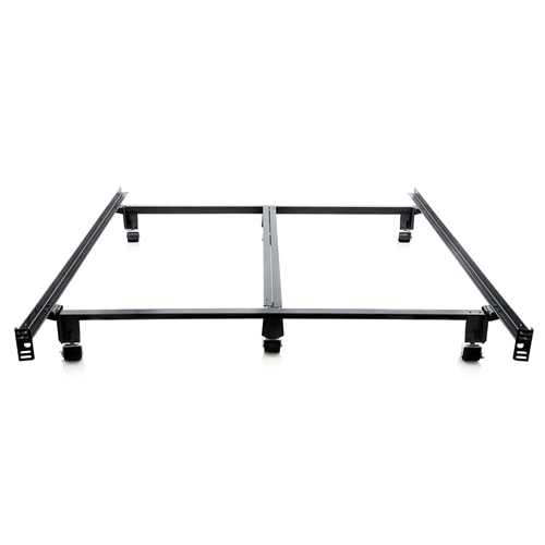King size Heavy Duty Metal Bed Frame with Locking Rug Roller Casters ...