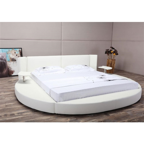 new product 75e54 326ea King size Round White Faux Leather Platform Bed with LED Headboard and  Nightstands