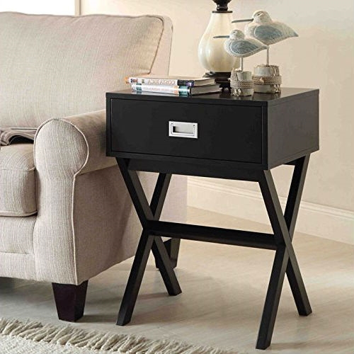 Modern 1 Drawer Bedside Table Nightstand End Table In Black Wood