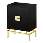 24in Retro 2 Drawer NightStand End Table Cappuccino with Gold Metal Legs
