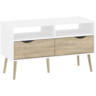 Strange Modern Mid Century Style Console Table In White Oak Wood Finish Gmtry Best Dining Table And Chair Ideas Images Gmtryco