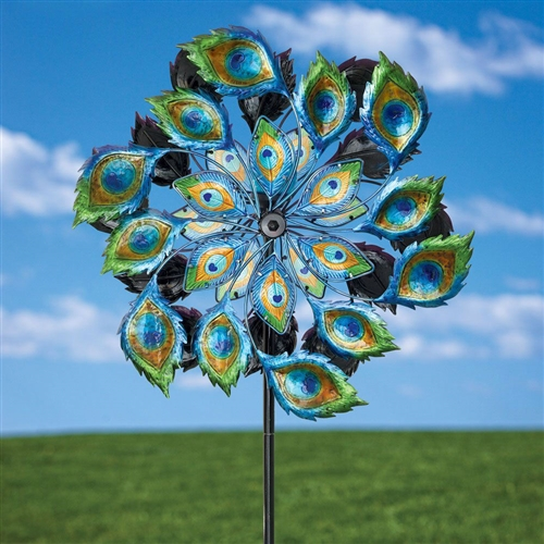 Peacock Solar Multi Color Wind Spinner Outdoor Lawn Garden