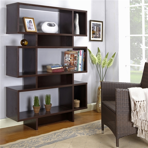 Modern 63 Inch High Bookcase Geometric Display Shelf In Espresso Wood Finish