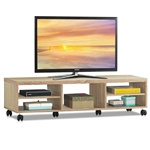 Rolling 60-inch TV Stand in Natural Wood Finish with 6-Wheels