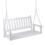 White 4.5-ft Slat-Back Solid Wood Porch Swing with Chain