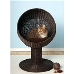 Fancy Cat Espresso Wicker Modern Cat Bed Lounge