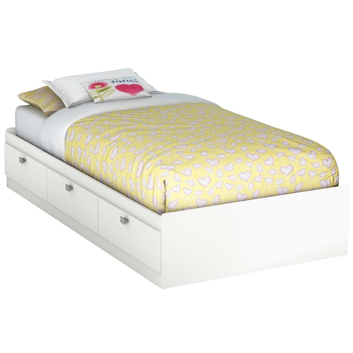 Twin Size White Platform Bed For Kids Teens Adults With 3