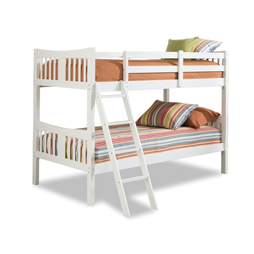 twin over twin size solid wood bunk bed frame in white finish. Black Bedroom Furniture Sets. Home Design Ideas