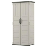 Outdoor Heavy Duty 22 Cubic Ft Vertical Garden Storage Shed in Taupe Grey