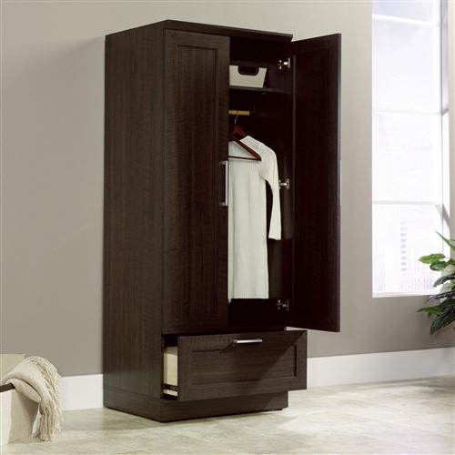 Bedroom Wardrobe Armoire Cabinet In Dark Brown Oak Wood