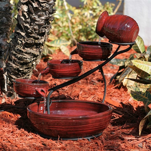 Red Ceramic 5 Tier Hand Painted Outdoor Bird Bath Fountain