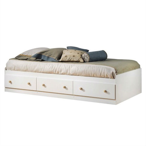 Twin size White Wood Platform Bed Daybed with Storage Drawers ...