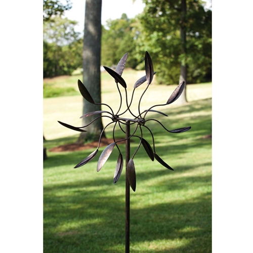 6 Ft Tall Bronze Finish Metal Wind Spinner Spinnin