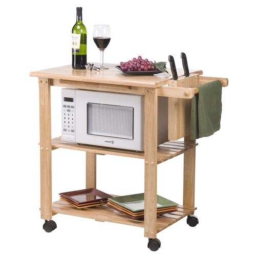 Solid Wood Kitchen Utility Microwave Cart With Pull Out