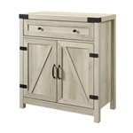 Rustic Farmhouse Barn Door Accent Storage Cabinet White Oak