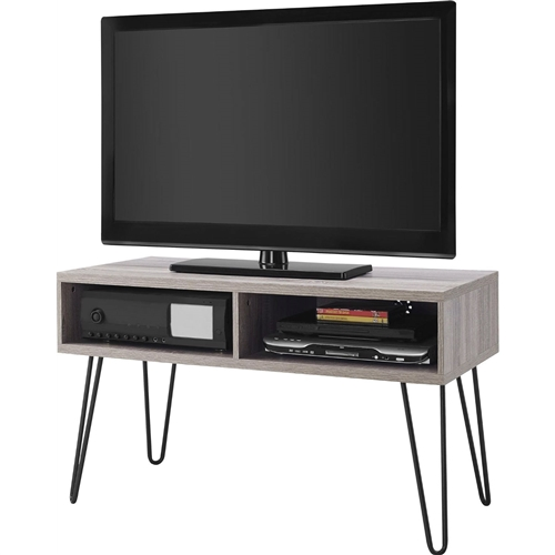 Modern Tv Stand In Oak Finish With Mid Century Style Metal Legs