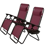 Set of 2 Burgundy Wine Red Folding Outdoor Zero Gravity Lounge Chair