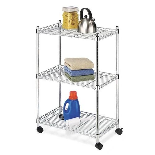 3-Tier Metal Cart on Wheels for Kitchen Microwave Bathroom Garage |  FastFurnishings.com